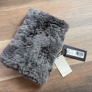 Jocelyn Gray One Size Rabbit Fur Cowl Neck Warmer